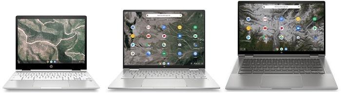 HP Chromebook x360 12bと比較機種の筐体