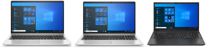 HP Probook 450 G8とHP Probook 650 G8、Lenovo ThinkPad E15 Gen 2の筐体比較