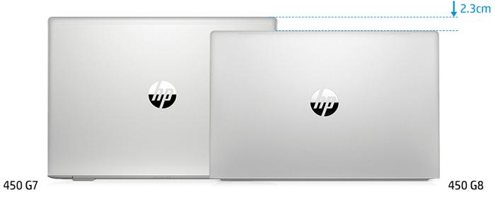 HP ProBook 450 G8とProbook 450 G7の筐体サイズの比較