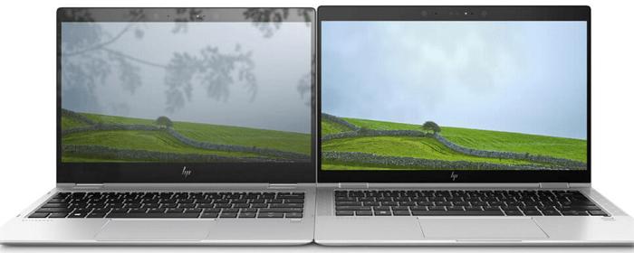 HP EliteBook 850 G7の光沢なしディスプレイと、他機種の光沢ありディスプレイの比較