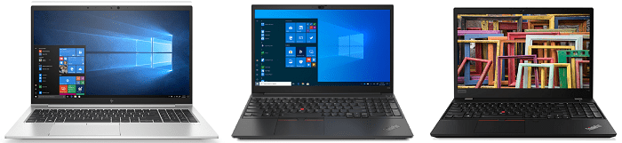 HP Elitebook 850 G7とLenovo ThinkPad E15 Gen 2、ThinkPad T15 Gen 2の筐体比較