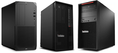 HP Z2 Tower G5とLenovo ThinkStation P340とP520Cの筐体比較
