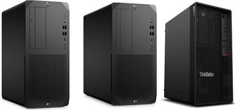 HP Z1 Entry Tower G6と Z2 Tower G5、Lenovo ThinkStation P340の筐体比較