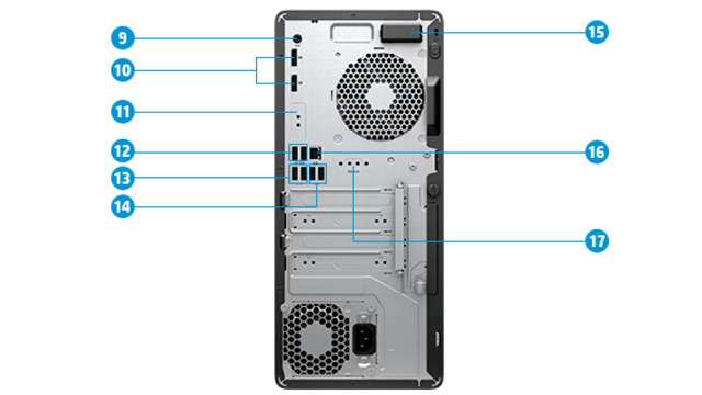 HP Z1 Entry Tower G6 背面インターフェース