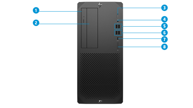 HP Z1 Entry Tower G6 前面インターフェース
