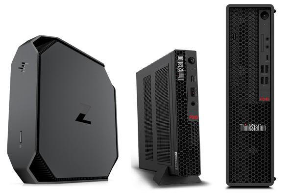 HP Z2 Mini G5 WorkStationとLenovo ThinkStation P340 Tiny、ThinkStation P340 SFFの筐体比較