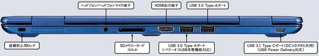 NEC Lavie N12 2021年春モデル 背面インターフェイス