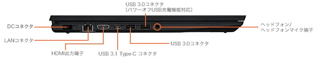 NEC Direct N15の左側インターフェイス