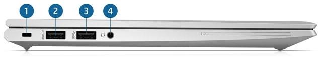 HP Elitebook 830 G8の左側面インターフェース