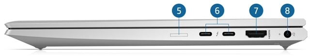 HP Elitebook 830 G8の右側面インターフェース